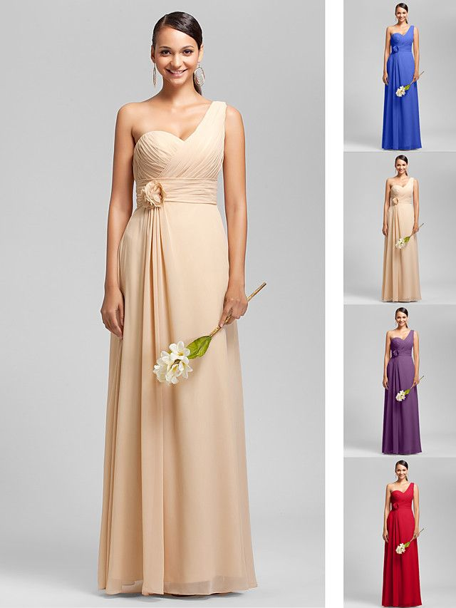 Floor-length Chiffon Bridesmaid Dress - Ruby / Grape / Royal Blue / Champagne Plus Sizes / Petite Sheath/Column One Shoulder / Sweetheart - USD $69.99