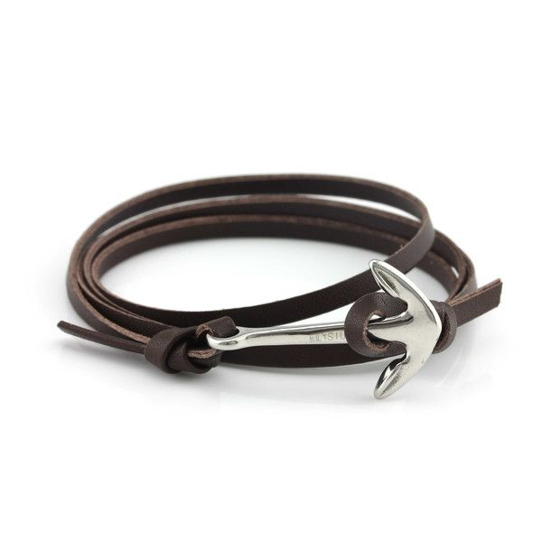Black Leather Anchor Bracelet