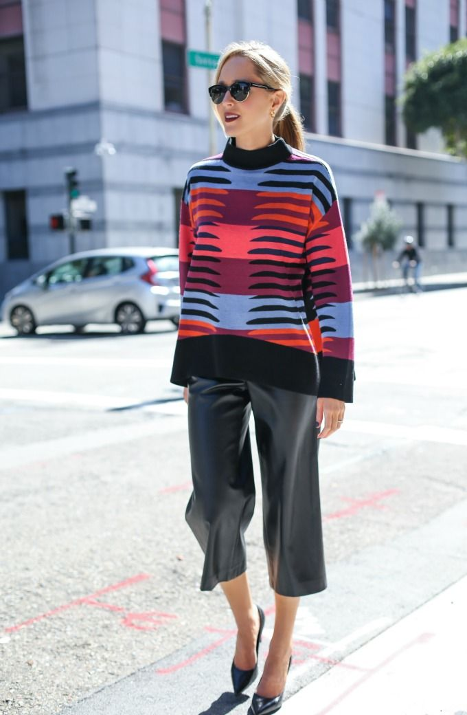 Colorful Knit, Leather Culottes