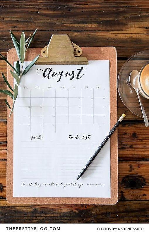 Free Printable August Calendar | Photograph by Nadene Smith | Design by Sammy Sheppard | http://www.theprettyblog.com/house/august-calendar-printable/