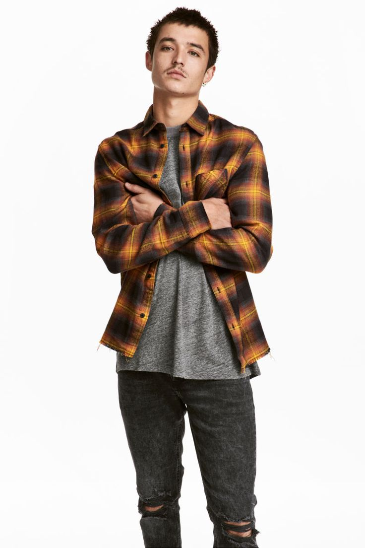 Camisa de franela de cuadros   Naranja oscuro/Cuadros   HOMBRE   H&M CO