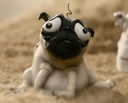Just watched the movie Mary and Max, from whence this pug came. Cried my eyes out, but it was good.