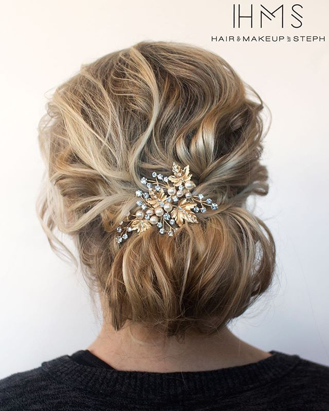 Textured updo for fine hair. #hairandmakeupbysteph color by @styled_by_carolynn