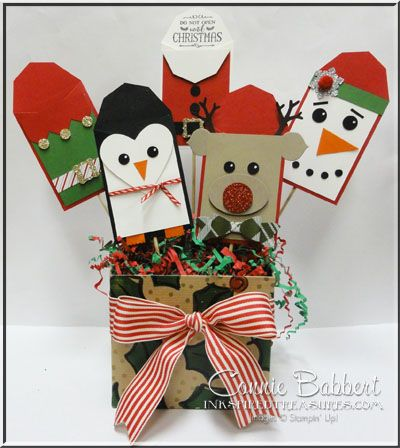 Christmas Gift Card Holder Tree, Elf suit, Santa suit, penguin, snowman, Rudolph, punch art, Stampin' Up!, #stampinup, created by Connie Babbert, www.inkspiredtreasures.com