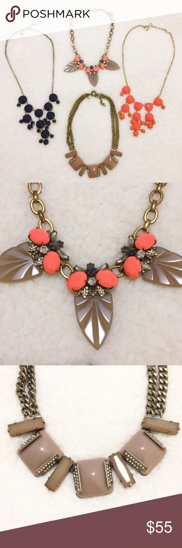 BUNDLE! // J. Crew // Statement Necklaces ✨BUNDLE SALE!!✨ 4 J. Crew Statement Necklaces.  •Black • Orange • Coral • Taupe • Gold tone•  ✨Price is for ALL 4 necklaces. Price is firm and fairly reflects condition✨   Necklaces have been worn and show some tarnishing. Pictures show exact condition.  ✨Pet & Smoke Free Home!✨Same or next day shipping!✨Bundle Discount!✨  🚚 Moving SALE - Everything in my closet must go! More listings added daily! 🚚  💕Thanks for looking & checking out my closet 💕…