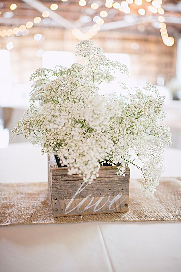 Wood center piece with stenciled love, aimee mcauley photography