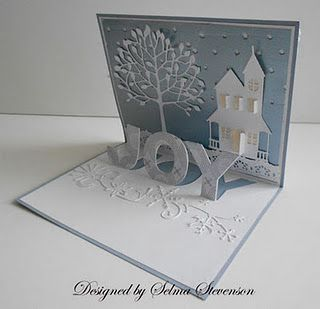 country house,arboscello tree,frosty border and pop up joyChristmas Cards, Cards Ideas, The Probate Boxes, Joy Popup, Pop Up, Holiday Cards, Selma Stamps, Stamps Corner, Popup Cards