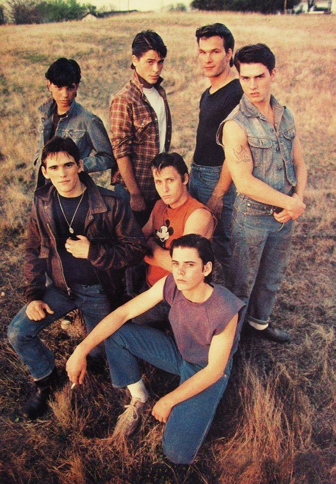 The Outsiders, 1983: Tom Cruise, Matt Dillon, Patrick Swayze, Ralph Macchio, Emilio Estevez, C. Thomas Howell, and Rob Lowe on the set.