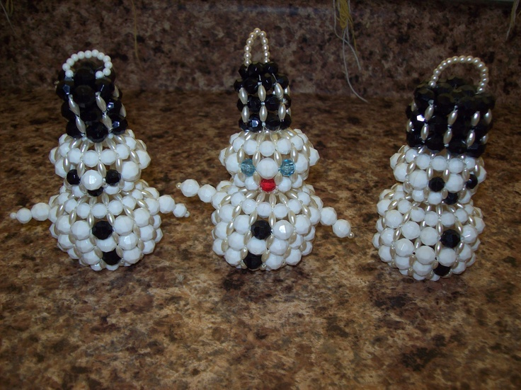 Set of 3 Snowman Christmas Tree Ornaments Made of Beads Faux Pearls. via Etsy.