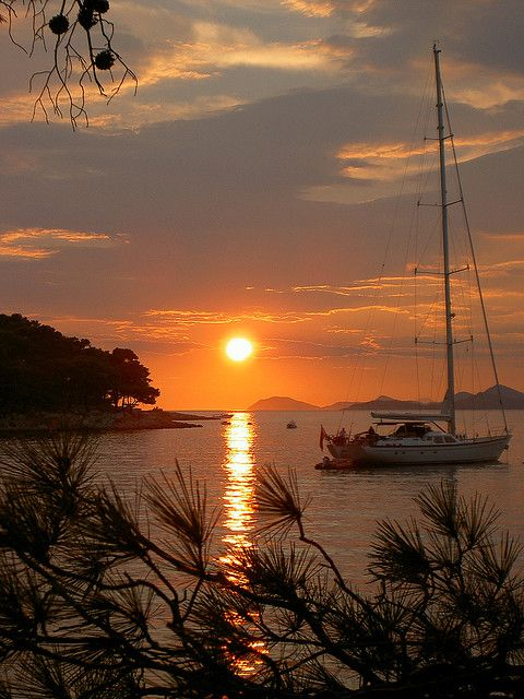 Sunset in the Adriatic, Cavtat, Croatia (by christina_2008).