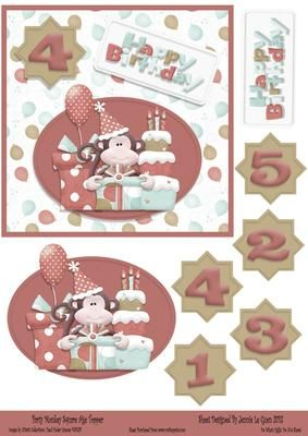 Party Monkey Red Square Ager Topper on Craftsuprint - View Now!