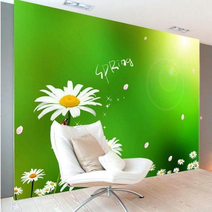 Free Shipping 3D White Daisy Flower modern minimalist bedroom living room TV background wall mural wallpaper