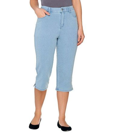 This Bleached Denim How Comfy Capri Pants - Plus Too is perfect! #zulilyfinds