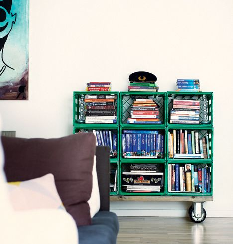 Storage out of plastic crates....I like the idea of the crates but in wood.