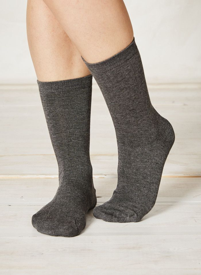 Women's bamboo socks by Braintree clothing in a plain design, charcoal grey colour. Eco-friendly and ethically sourced socks in great designs that are super-sof