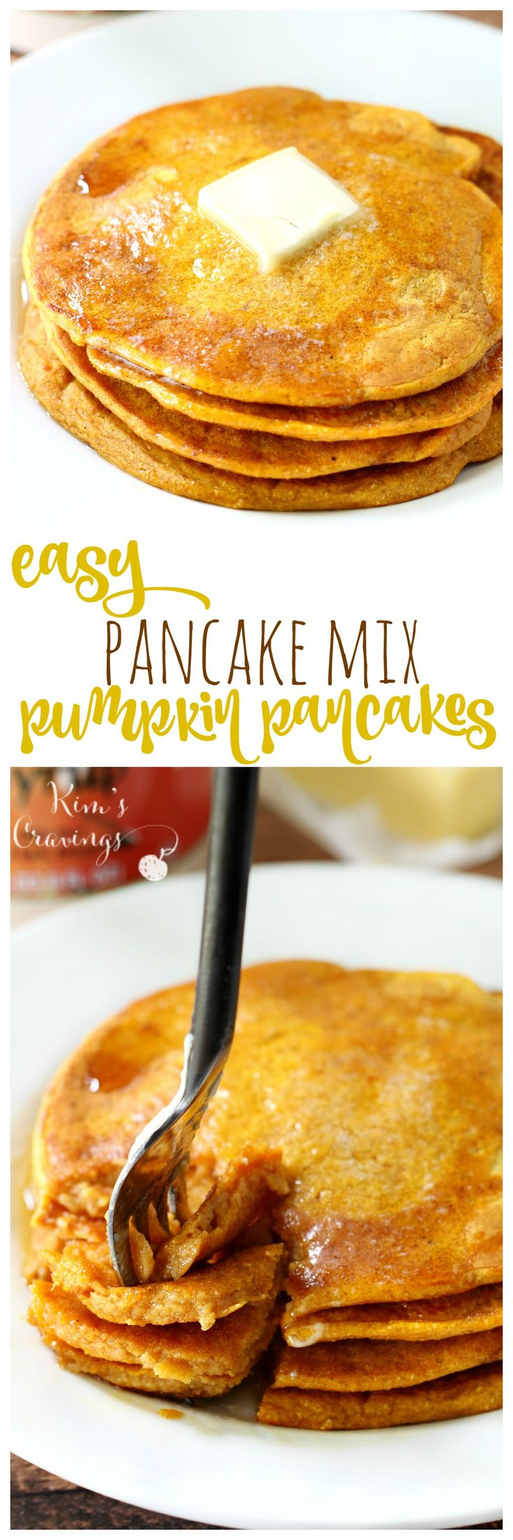Get festive with breakfast- use your favorite pancake mix for the easiest pumpkin pancakes that can be whipped up in a pinch!