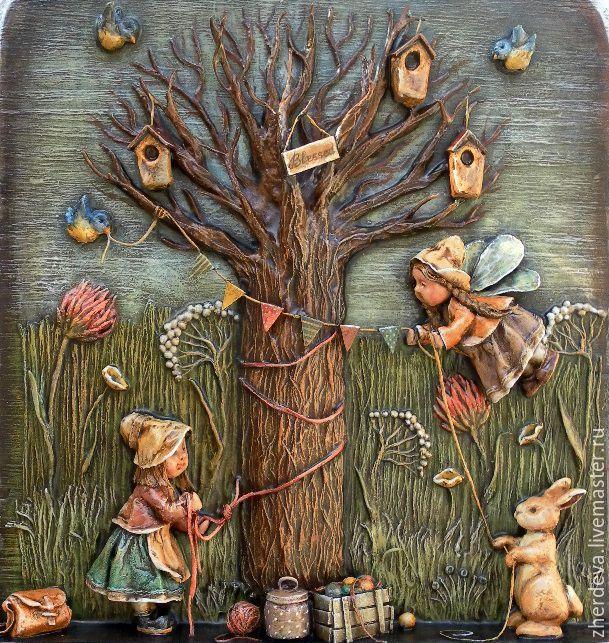 """Купить """"Преддверие"""" (папье-маше, дерево) - Папье-маше, панно в детскую, для детской комнаты"""