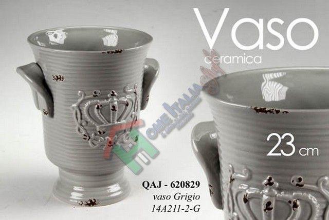 QUJ/CACHEPOT GRIGI CON CORONA 14A211