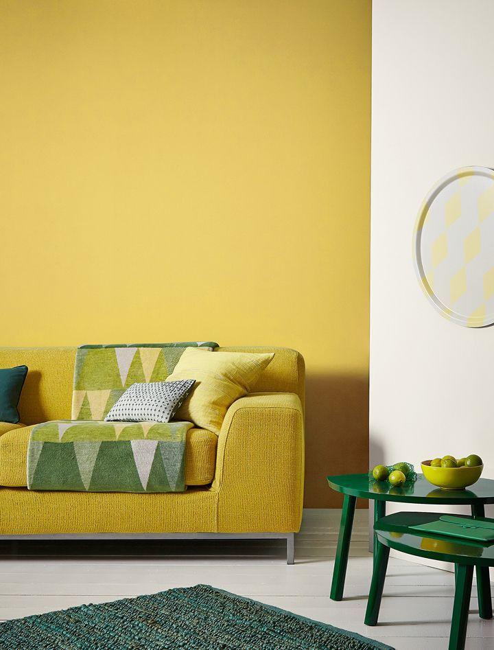 Mustard Jar Matt Standard Emulsion Crown Paints Livingroommodern Yellow Walls Living Room Living Room Paint Mustard Living Rooms