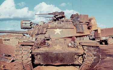 Tanks of the 1/69th Armored Brigade, 4th Infantry Division at LZ Oasis, southwest of Pleiku, South Vietnam, January, 1969