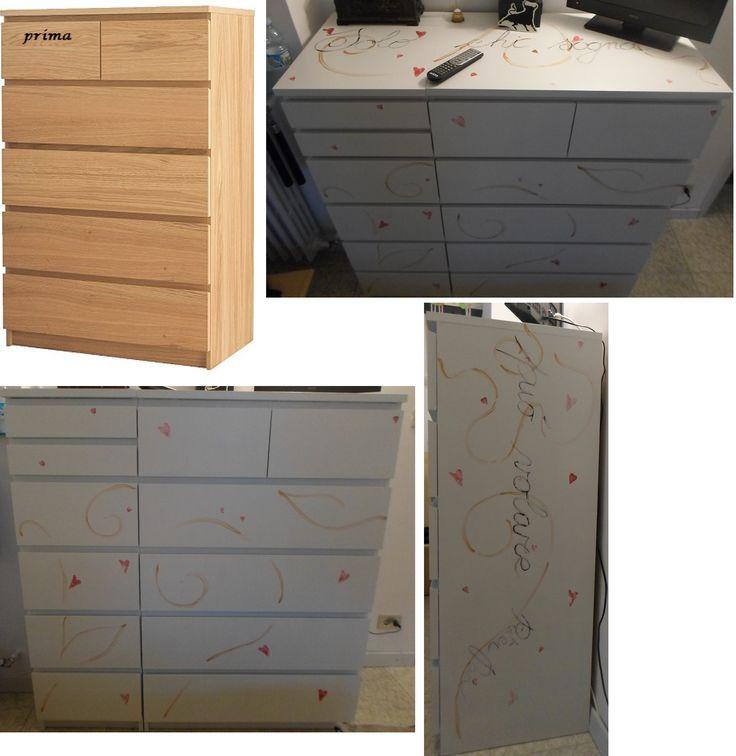 Cassettiere: Finalmente sono riuscita a terminare le cassettiere della camera da letto. Ho messo una foto tipo, presa dal sito dell'IKEA, non ho trovato in effetti quella del mio colore, io sono partita da una base più scura, ma il risultato mi soddisfa.