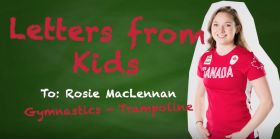 Double Olympic trampoline champion Rosie MacLennan reads a letter from a young fan.