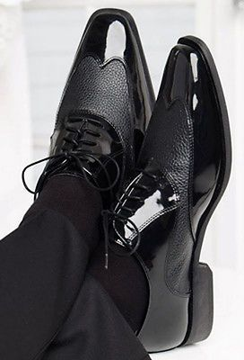 Black Manhattan Wing Tip Tuxedo Shoes