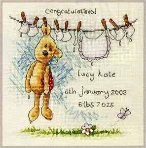 newton's Law Cross stitch baby sampler