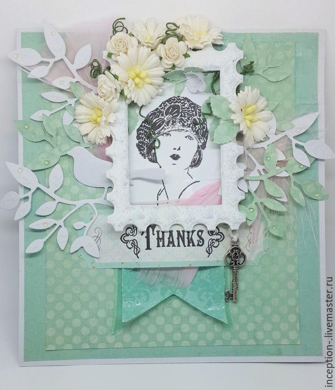 """Купить Открытка мятного цвета """"Thanks"""" - мятный, Открытка ручной работы, открытка, открытка для женщины"""