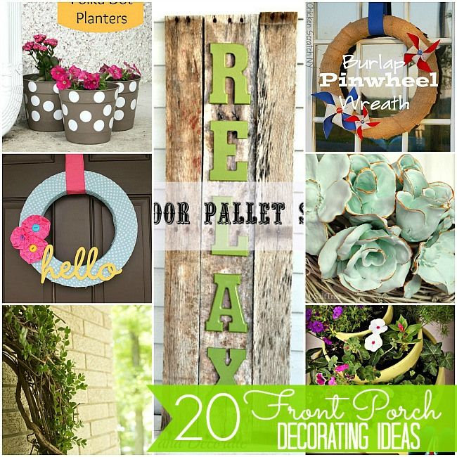 20 Front Porch Decorating Projects -- Tatertots and Jello #DIY: 20 Front, Decorating Ideas, Decorating Projects, Outdoor Decor, Porch Decorating, 20 Porch, Diy Projects, Front Porches, Outdoor Projects