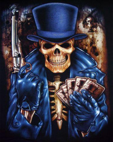 Skeleton Card Dealer T Shirt Click To Enlarge Skulls