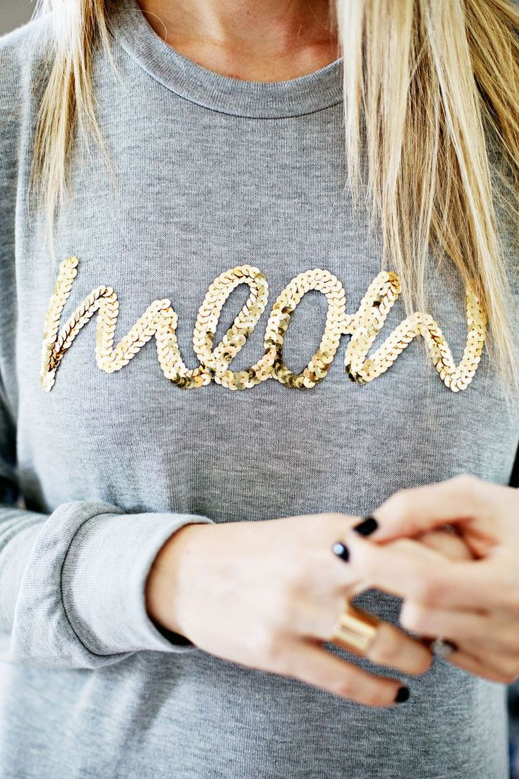 Sequin Phrase Sweatshirt DIY