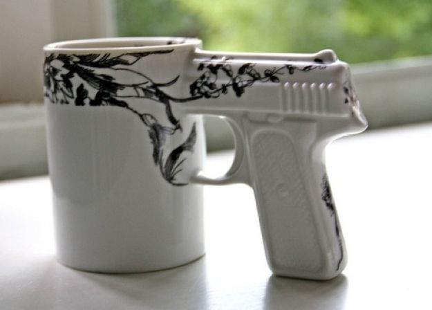 For the gun fanatic who's also really into floral prints: | 35 Awesome Mugs Every Coffee Lover Will Appreciate