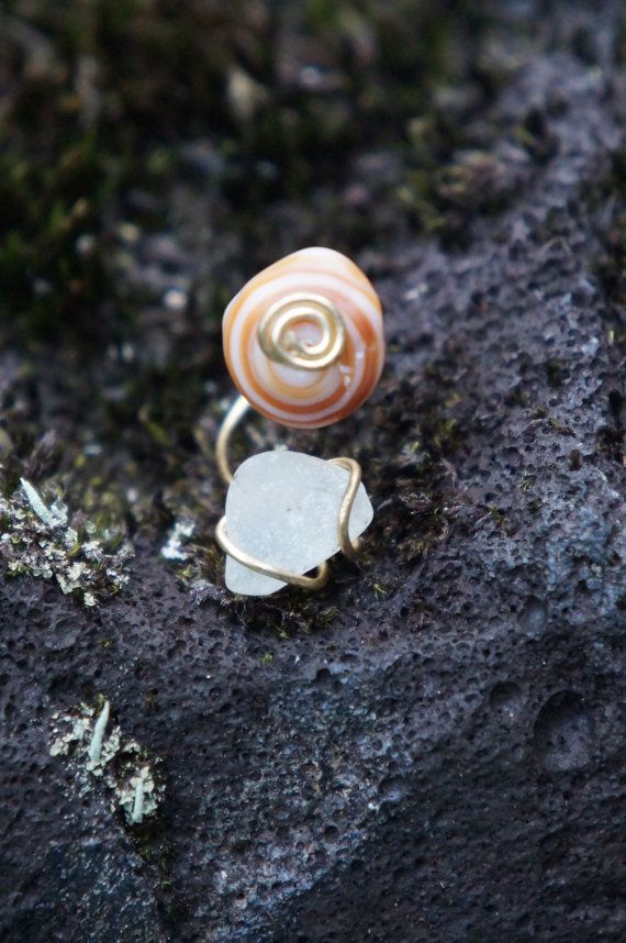 Hawaii Shell and Sea Glass Wire Wrapped Ring by AquaWai on Etsy