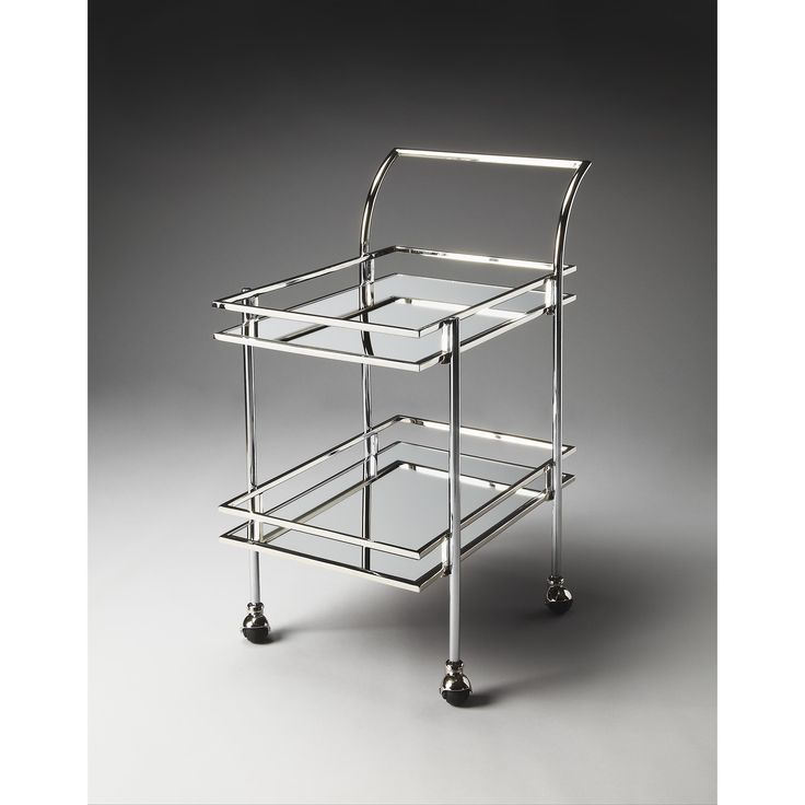 Butler Gatsby Steel Contemporary Bar Cart (Silver)