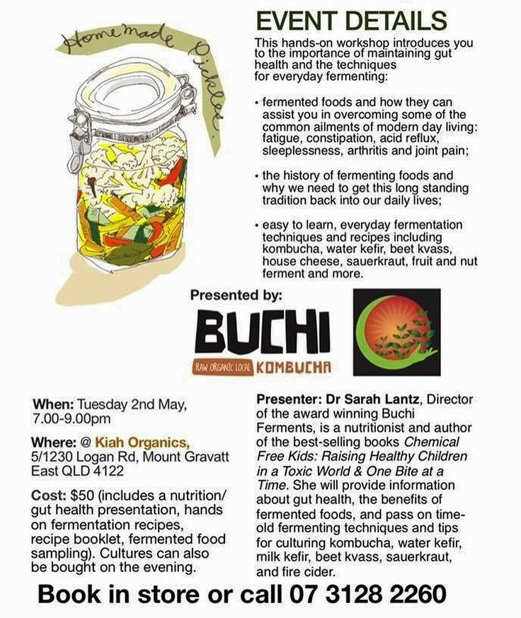 Gut Health and Fermenting Workshop  Tickets are still available for our workshop with Dr Sarah Lantz from @buchikombucha on Tuesday May 2 from 7pm   Check out our Facebook page for more details - or ring to book today!#kiahorganicwholefood  #kombucha #buchi  #organic  #guthealth http://ift.tt/2gAXfq6