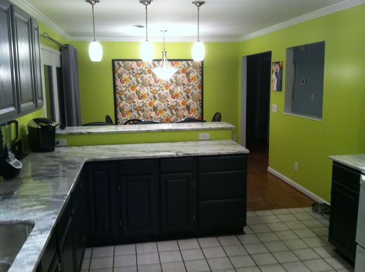 Lime green walls with two tones gray and black cabinets House Stuff