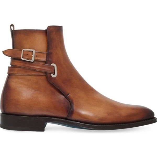 Sutor Mantellassi Orthos buckled leather boots ($780) ❤ liked on Polyvore featuring men's fashion, men's shoes, men's boots, mens tan shoes, mens tan boots, mens tan leather shoes, mens leather buckle boots and mens boots