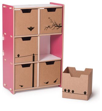 Cubby Bookshelf, Pink and White - contemporary - toy storage - Sprout