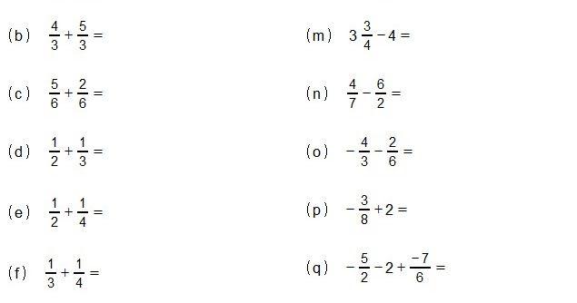 Exercicios De Adicao E Subtracao De Fracao Trigonometria Algebra