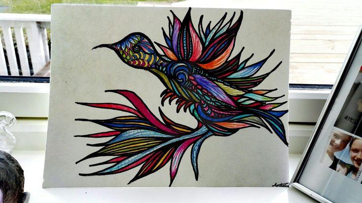 A bird in a rainbow