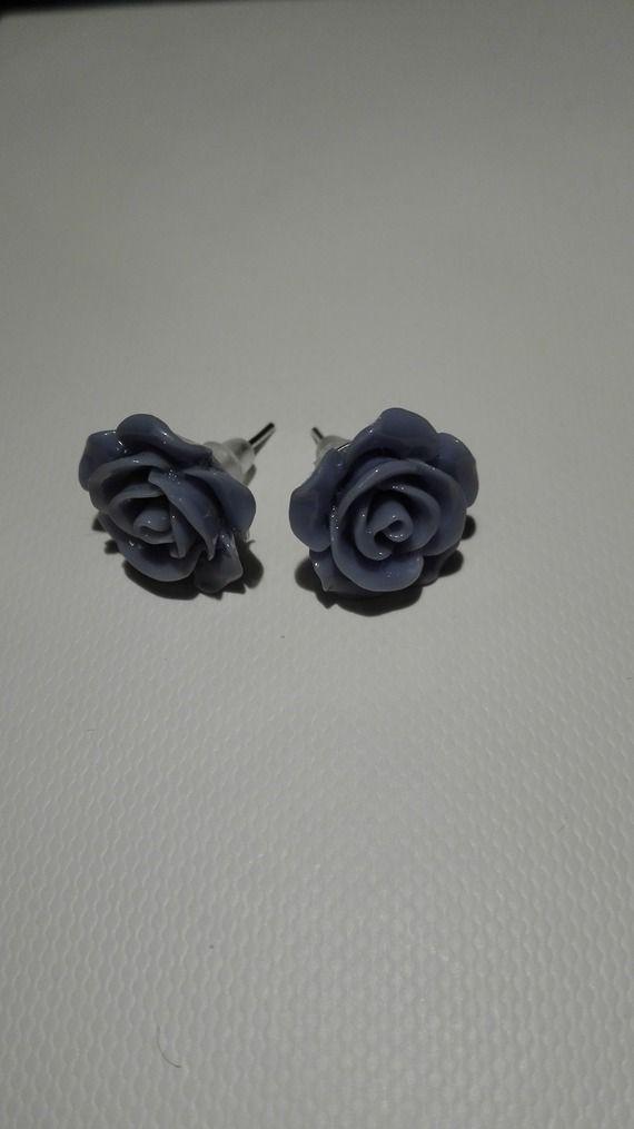 Boucles d'oreilles clou en forme de rose - bleu gris 10mm