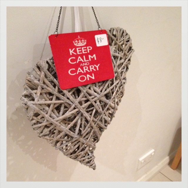 Cane hanging heart and keep calm sign