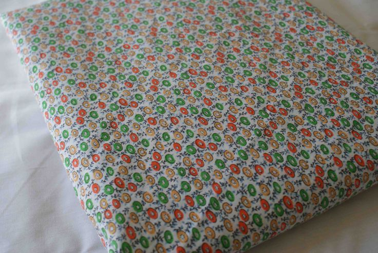 Vintage Flower Fabric sold by the yard Orange Green White Retro 50s 60s 70s retro fabrics pinup gift for seamstress couture by Fanie on Etsy