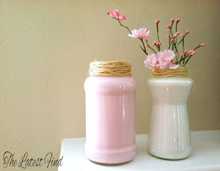 spring decor,  great idea,  very easily customizable to your liking.  ALWAYS save any glass food containers for crafts like this... Think salsa jars,  olives, ketchup (do they still sell that in glass), peppers (bc I can't spell peperonchinis,  lol),  etc.  Save them,  hide your stash from your hubby so he doesn't nag or trash them. :)