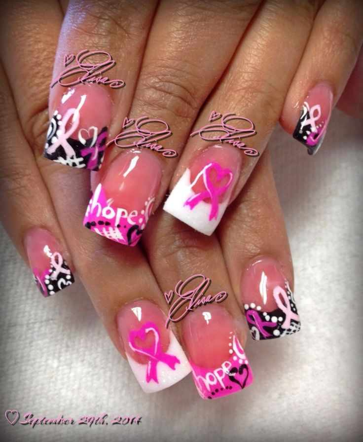Breast cancer awareness nail art #thenailsbyelisa - Best 25+ Cancer Nails Ideas On Pinterest Breast Cancer Nails