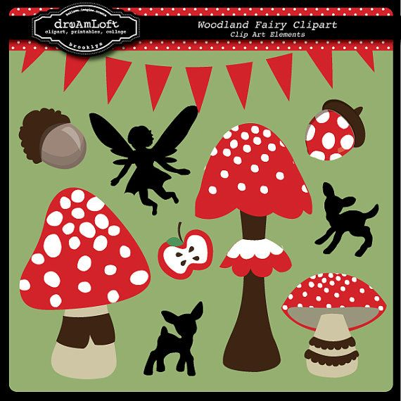 Woodland Fairy Party Theme Graphics for Invitations by DreAmLoft @ Etsy.com