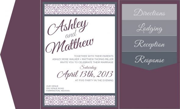 Digital Invite Mockup - Pocketfolds & Inserts : wedding cards and pockets invitations mockup purple Invitation Mockup Gray Lettering