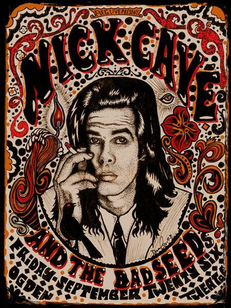 Nick Cave Psychedelic rock poster by darrengrealish on Etsy, $35.00