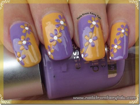 easy flowers nail art design in purple and yellow
